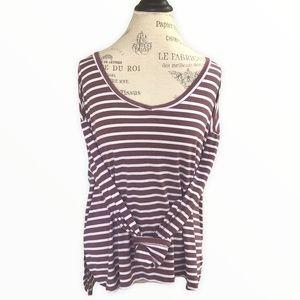 AEO Soft & Sexy Burgundy Stripe V-Neck Long Sleeve